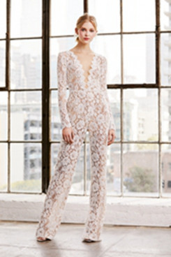Sexy Deep V-Neck Lace Bridal Jumpsuits Lawn Wedding Pants dresses so-139