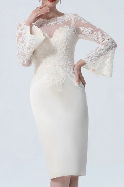 2021 Fashion Champagne Lace Long Sleeves Mother Of The Bride Dresses mps-432