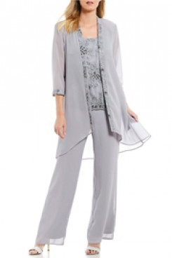 Silver Gray Beaded Elastic waist mother of the bride Pants suits With Chiffon Jacket mps-113