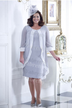 Silver Gray Chiffon Mother of the bride dress With Sleeves Plus size women's outfits mps-355