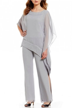 Silver Gray Chiffon Poncho Top Elastic waist Mother of the Groom Pants suit mps-121