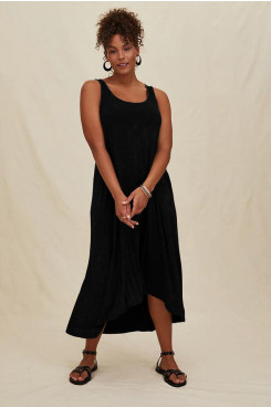 Simple Black Women's Dresses, Discount Loose Midi Dresses mps-397