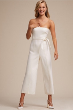 Simple Strapless Little White Dresses Bridal Jumpsuits so-141