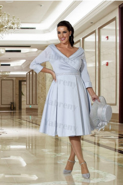 Sky Blue A-Line Plus size prom dress mps-322