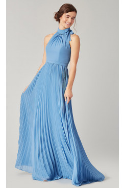 Sky Blue Bridesmaids Dresses Accordion Pleats so-274