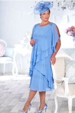 Sky Blue Chiffon Mother of the bride dress Plus size dress mps-325