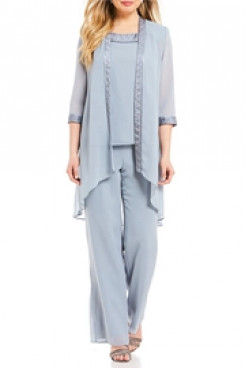 Sky blue Chiffon Elastic waist Mother of the bride pants suits for Beach wedding mps-112