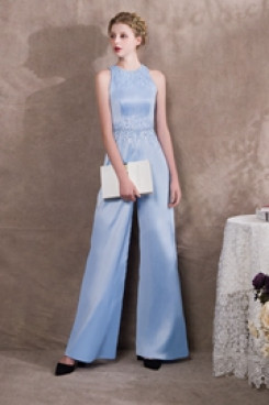 2019 Fashion Sky Blue Delicate Hand beaded Prom dresses Vest Jumpsuits so-029