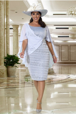 Sky Blue Fashion Mother of the bride dress  Plus size short dress mps-328