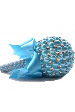 Sky Blue Handmade Beads Wedding bouquets for bride with Glass Drill and Crystal