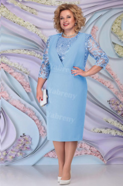 Sky Blue Knee-Length  Mother of the bride dress Plus size Women's mps-467-5