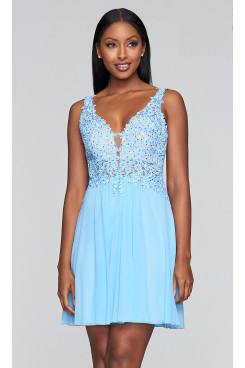Sky Blue Lace-Bodice Homecoming Dresses, Charming Graduation Party Dresses sd-036-4