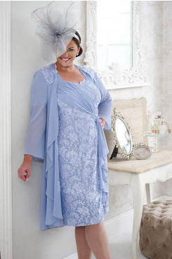 Sky Blue lace Mother of the bride dress with jacket 2PC lace outfit mps-363