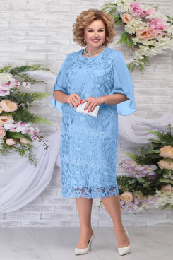Sky Blue Lace Tea-Length Mother's Dresses Plus Size Women's Dresses mps-462-5