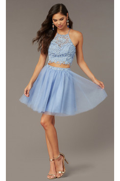 Sky Blue Lace Two-Piece Homecoming Dress, French Blue A-line Above Knee Graduation Party Dresses sd-033-4
