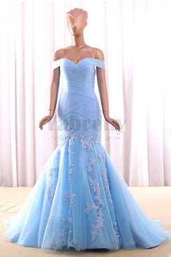 Sky Blue wedding dress Off-the-shoulder Mermaid Appliques bride dresses wd-021-3