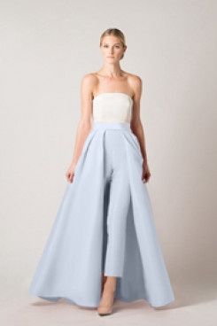 Sky blue satin prom trousers suit jumpsuit with skirt so-173
