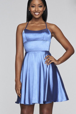 Sky Blue Spaghetti with Scoop Neckline Homecoming Dress,Under $100 Short Dresses sd-001-3