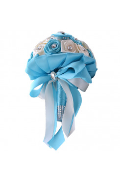 Sky Bule and white for wedding bouquets for  Beach Wedding with Plearls