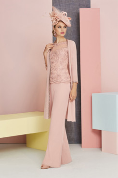 Blushing Pink Lace Mother of the bride pant suits with jacket Pink Trousers outfits so-214