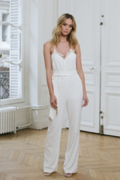 Spaghetti Chiffon Bridal Jumpsuit Lace edge Beach Wedding Dresses so-096
