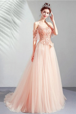 Spaghetti Pink Brush Train Prom Dresses Hand Beading Evening Dresses TSJY-172