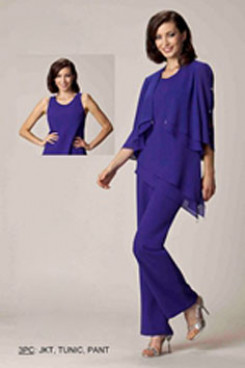 Spring Chiffon 3PC mother of the bride pants suit mps-190