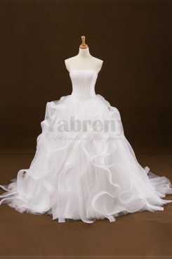 Strapless Sweep Train Wedding dress With Ruffles Sweet Bridal Gown wd-007