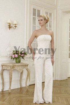 Strapless wedding pants suit lace dress with Elegant so-072