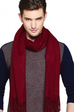 Stylish Pure Color Wool Burgundy Scarves for Autumn and Winter with tassels