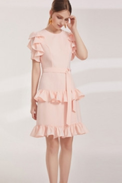 New Style Tiered Ruched pink Homecoming dresses cyh-001