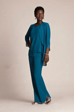 Under $100 Blue Chiffon Three Piece mother of the bride pants suits With jacket mps-262