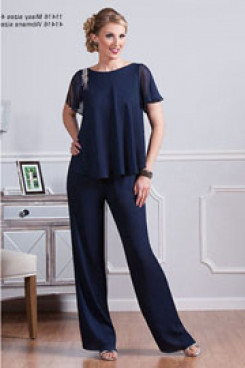 Under $100 chiffon mother of the bride pant suit dark blue two piece outfit for wedding mps-253