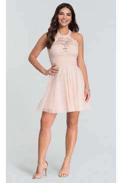 Under $100 Pink Lace-Bodice Homecoming Dress, Halter Graduation Party Dress sd-034-3