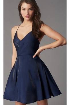 Dark Blue Pleated-Bodice Homecoming Dress, Simply Above Knee Short Prom Dresses sd-044-1