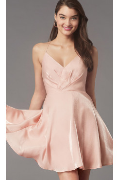 Under $100 Pleated-Bodice Homecoming Dress, Simply Above Knee Pink Prom Dresses sd-044-2