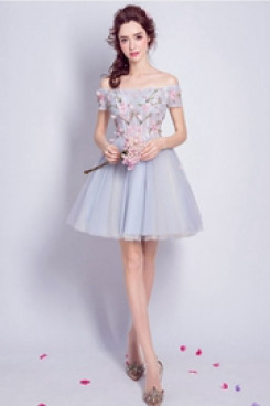 Under 100 Sky Blue A-line Homecoming Dresses Off the Shoulder Prom Dresses TSJY-046