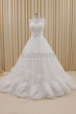 V-neck A-Line Handmade Flowers Sheer Straps Elegant Wedding dresses