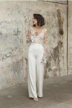 V-neck Glamorous Lace Wedding Jumpsuits Long Sleeves Bride Dresses so-248
