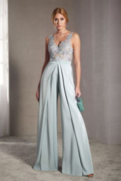 V-Neck Prom Jumpsuit dresses Women Culottes Chest Appliques vestido de fiesta so-193