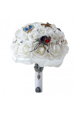 Wedding bouquets for bride Milk white Bouquet with Hand Beading Crystal