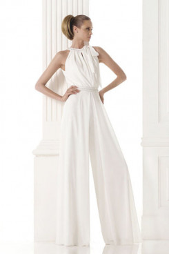 Wedding dresses pantsuits white chiffon Modern bridal jumpsuit so-152