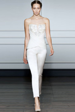 Strapless Wedding jumpsuit with delicate hand beading so-063
