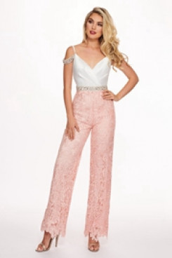 Wedding Jumpsuits Cocktail dresses with Beaded belt Sweet pink so-179