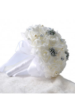 White Crystal Artificial Flowers Rose Bouquet for bride and bridesmaids