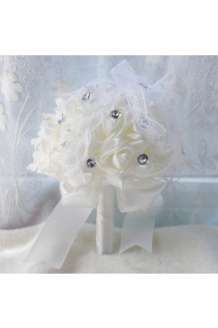 White Hand Beading Rose flowers with Crystal Wedding Bouquet