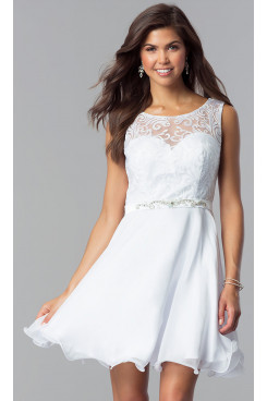 White Lace-Bodice Chiffon Homecoming Party Dress,Glamorous Above Knee Party Dresses sd-035-3