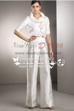 White Taffeta bridal pantsuit dresses for spring wedding so-154