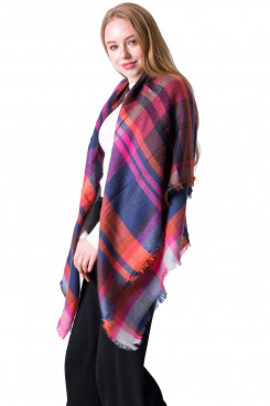 Fall Winter Plaid Shawl Women's Scarf Soft Warm Classic Square Plaid Scarves