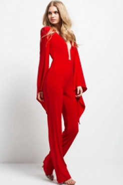 Red Women chiffon jumpsuit prom pants dress so-183